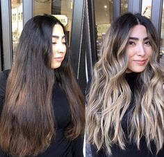 Warning: These hair transformation before & after photos might cause you to book a haircut or color transformation appointment with your stylist ASAP! Brown Hair Balayage, Brown Blonde Hair, Hair Color Balayage, Hair Highlights, Balayage Hair Brunette With Blonde, Chunky Highlights, Caramel Highlights, Color Highlights, Hair Lights