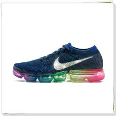 0dedeb5fce New 2018 Glitter Swarovski Crystal Swoosh Multi Colored Vapormax Flykint  2018 Be True Navy Blue Men 883274-400 Women 883275-400