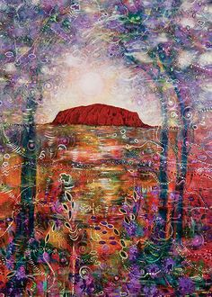 Uluru: The Dreamtime Fine Art Print by Toni Carmine Salerno Printed on premium textured art paper Size: 32 x Painter Artist, Dresser, Blue Angels, Aboriginal Art, Texture Art, Tribal Art, Online Art Gallery, Landscape Art, Painting Inspiration