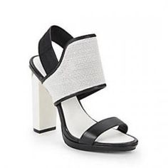 65% off BCBG Max Azria - Sandals Jovian Perforated Leather White and Black - $94.99