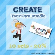 Clip art Bundle set where you have the option of selecting exactly what is bundled! This set gives you a choice of 10 sets and a saving of up to 20%