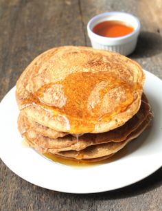 Grain-free pancakes with chickpea flour. Recipe from http://healthishappiness.com/2013/05/11/grain-free-vegan-pancakes/#more-4087.