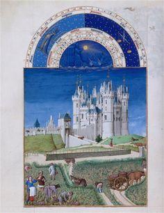 Le mois de septembre. Jean et Hermann Limbourg. Les Très Riches Heures du duc de Berry (1411-1416) le Calendrier.