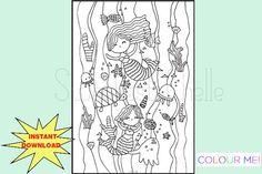 Cute Printable COLORING Page - Under the Sea Dashboard - Planner Dashboard - Printable Dashboard - Underwater Theme - Mermaid -Sea Shells Underwater Theme, Planner Dashboard, Cute Planner, Coloring Pages, Colouring, Planner Inserts, Under The Sea, A5, Sea Shells