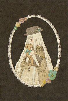 """Sayako's Portrait"" (Girl with Book and Teddy Bear) Postcard from Imai Kira (#PC52) - Lolita Desu"