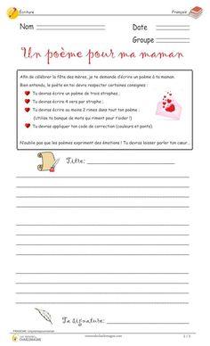 Ce document est parfait pour un joli cadeau pour la fête des mères! En effet, les élèves pourront écrire un joli poème de plusieurs strophes pour remercier leur mère. Ils pourront alors réinvestir tous leurs apprentissages sur ce style d'écriture original. 2e cycle,3e année,3e cycle,4e année,5e année,6e année,Caroline M.,Écriture,Écriture,évaluation,exercice,fête des Mères,Français,Français,Légal,Nouveautés,poème,simple