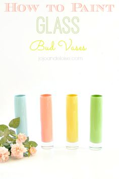 how to paint spring inspired glass bud vases with acrylic paint top of bookcase Diy Craft Projects, Craft Tutorials, Craft Ideas, Mason Jar Crafts, Bottle Crafts, Handmade Crafts, Diy Crafts, Painted Glass Vases, Jar Art