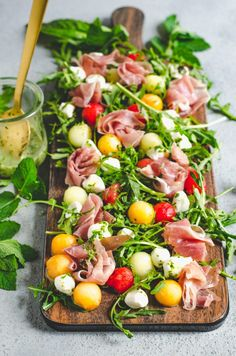 Melon Prosciutto Salad with Mint Basil Vinaigrette - recipes dinner recipes dinner easy recipes dinner healthy recipes dinner keto recipes dinner meat recipes dinner video Brunch Recipes, Summer Recipes, Healthy Dinner Recipes, Cooking Recipes, Easter Recipes, Brunch Ideas, Grilling Recipes, Meat Appetizers, Appetizer Recipes