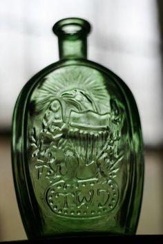 green glass TWD eagle Franklin ship  bottle by WoodenStoolVintage, $10.45