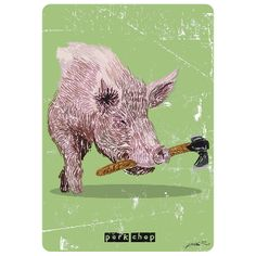 Steve Panton Pork Chop A3 Unframed Print: Humorous animal print by Steve Panton.