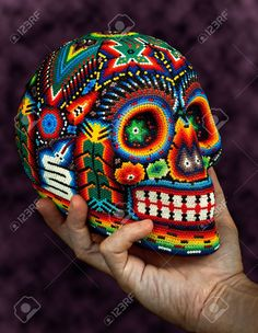 Colorful Beaded Skull From Mexican Traditional Huichol Bead Art,.. Stock Photo, Picture And Royalty Free Image. Pic 21164145.