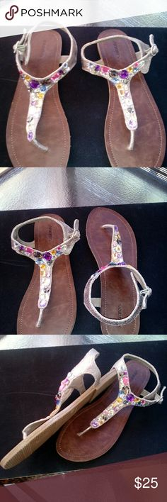 Multi colored sandals These darling little sandals are a must  have,with a multicolored stone design you can set any summer outfit off. Xhilaration Shoes Sandals