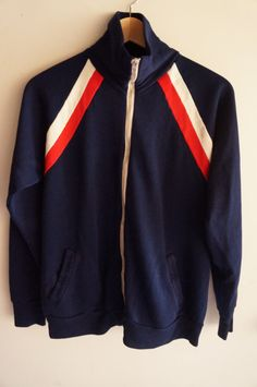 Vintage 70's Tracksuit Top - Navy Blue / White / Red - Medium - FREE  SHIPPING