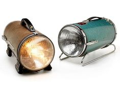 Recycled car headlight lamps.
