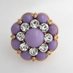 Robert Rose Goldtone Lilac Colored Floral Small Cluster Cocktail Stretch Ring #RobertRose #Stretch