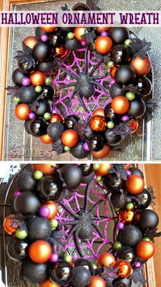 DIY Halloween Ornament Wreath for a BOOtiful Front Door! - - A fun & festive Halloween ornament wreath to welcome All Hallow's Eve. Featuring black, orange, purple, & green, as well as black leaves & a creepy spider! Spooky Halloween, Halloween Hacks, Frankenstein Halloween, Diy Halloween Party, Halloween Wall Decor, Cheap Halloween Decorations, Dollar Store Halloween, Halloween Candles, Vintage Halloween