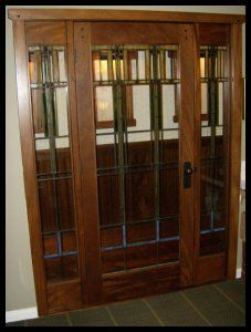 craftsman style transom french door with stationary sidelights and