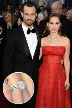 Natalie Portman's vintage inspired engagement ring with accompanying bands