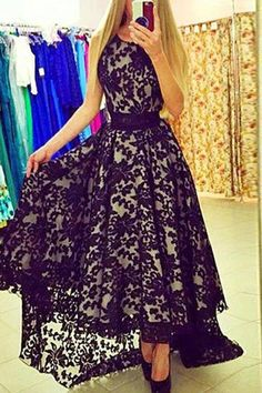 Lace Black Prom Dresses, Prom Dresses A-Line, High Low Party Dress, Prom Dresses Lace, Long Party Dress, Prom Dresses 2019 #HighLowPartyDress #PromDressesLace #PromDresses2019 #LongPartyDress #LaceBlackPromDresses #PromDressesALine
