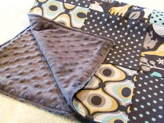 Baby Blanket, Zoology Patchwork Blanket with Grey Minky. $50.00, via Etsy.