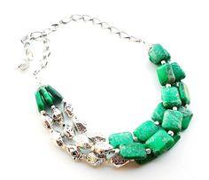 Green Statement Necklace Green Imperial by BigSkiesJewellery