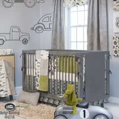 Unique Baby Boy Crib Bedding | Baby Boy Grey Vintage Car Truck Route 66 Crib Nursery Theme Quilt ...