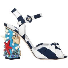 Dolce & Gabbana Women 105mm Keira Sea Embellished Cady Sandals (3.375 BRL) ❤ liked on Polyvore featuring shoes, sandals, heels, scarpe, dolce gabbana sandals, dolce gabbana shoes, leather sole sandals, high heel shoes and heeled sandals