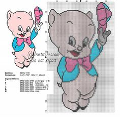Baby Porky Pig with colored hat small Looney Tunes cross stitch pattern