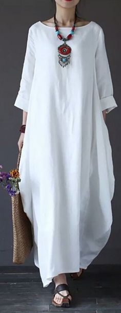 Women Plus Size Long Sleeve Linen Loose Casual Irregular Maxi Dress Trendy Fashion, Plus Size Fashion, Boho Fashion, Fashion Outfits, Womens Fashion, Trendy Dresses, Swagg, Clubwear, African Fashion