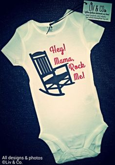 Funny Baby Clothes, One Piece, Bodysuit, Baby Romper, Mama Rock Me, Cutest Baby Outfit, Gender Neutral Baby, Boy, Girl, Wagon Wheel, Country by LivAndCompanyShop on Etsy https://www.etsy.com/listing/162495632/funny-baby-clothes-one-piece-bodysuit