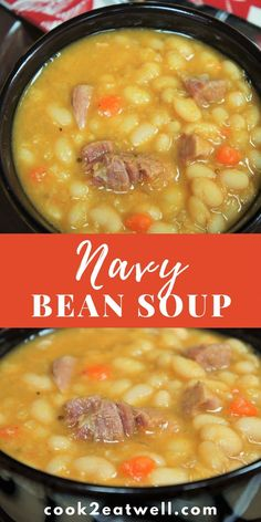 Navy Bean Soup Navy Bean Soup In this recipe navy beans are paired with smoked ham, vegetables and a combination of spices to make a hearty and delicious soup. Navy Bean Soup, White Bean Soup, Ham And Beans, Beans Beans, Bean And Ham Soup, Soup With Ham, Ham Bone Soup, Bean Soup Recipes, Navy Bean Recipes