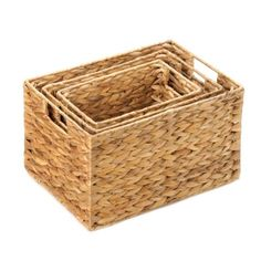 """by Accent Plus Organize your magazines, mail, bath accessories and so much more with this handsome trio of nesting baskets. Their wire frames and thick woven structure make them as fashionable as they are functional.  Large: 14"""" x 10"""" x 8 1/8"""" high;  Medium: 12"""" x 8"""" x 7 1/4"""" high;  Small: 10"""" x 6"""" x 6 1/2"""" high.  allgooddecor.com  #allgooddecor #furniture #accents #decor #gifts #decorations #lighting #candles #mirrors #figurines #fountains #outdoor #toys"""