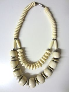 70s Bone or Carved Cow Horn African Ethnic Double by BranchOutShop, $40.00