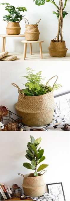 Seagrass Belly Basket Storage Plant Pot Room Foldable Laundry Bag Portable Tote Shopping Bag