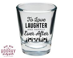 Stock the Bar Love Laughter Happily Ever After Shot Glasses Couples Shower Stock the Bar Shot Glass Housewarming Shot Glass 1668 by SipHipHooray