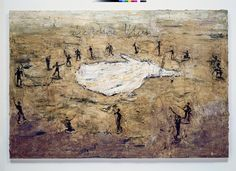 """Anselm Kiefer ~ """"Das goldene Vlies"""" oil and emulsion on canvas, 190 x 280 cm. *""""The Golden Fleece"""" …after the heroic legend from Greek mythology about Jason who sets out to recapture the golden fleece of his family. Anselm Kiefer, Statues, Thing 1, Mixed Media Collage, Land Art, Greek Mythology, Celebrity Travel, Oeuvre D'art, Les Oeuvres"""