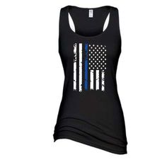 Distressed Thin Blue Line Flag  Black Ladies Enza Racerback Tank