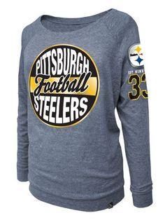 bbdd01568e7 Pittsburgh Steelers 5th & Ocean Women's Longsleeve Ash Triblend Scoop Foil  T-Shirt
