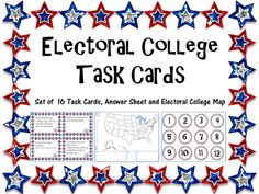 Use these task cards to review the Electoral College with your students! Included in this product is 20 Electoral College Task Cards, Instruction on how to use in your classroom.
