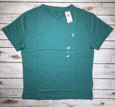 Ralph Lauren Men/'s Polo V-Neck Pima Cotton Pony Logo Sweater Blue Hthr S M L