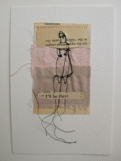 I'll be there - mixed media embroidery postcard