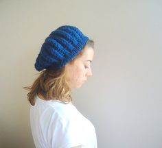 Hand Crocheted NAVY BLUE SLOUCHY Beanie Hat teenage by MARYsworks, $30.00