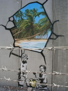 Graffiti Street Art by Banksy / Blue Skies and Rainbows/Beautiful Wall Hanging your Family will love Vintage Decor Art Prints Wall hanging 3d Street Art, Street Art Banksy, Amazing Street Art, Street Artists, Amazing Art, Banksy Graffiti, Arte Banksy, Bansky, Graffiti Artists