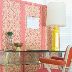 Simple fabric panels quickly update an outdated room divider.