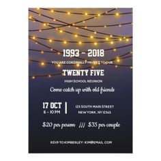 Modern string lights card - birthday cards invitations party diy personalize customize celebration