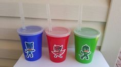 Pj Masks party favor 12oz cups with straw and lids.