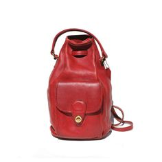 red leather Coach hand bag or backpack by myfavoritevintage