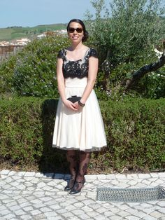 This fun and flirt, fancy frock is something to admire. #blackandwhite #lace #formal