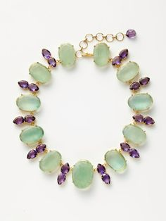 Fluorite & Amethyst cluster necklace #necklace #jewelry #green #violet #purple