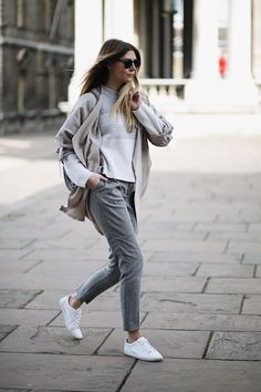 beige jacket, grey & white stripe jumper, grey tailored peg leg trousers, white trainers lace ups, grey Stella McCartney Falabella, casual winter outfit